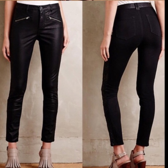 Anthropologie Pilcro Faux Leather Black Pants